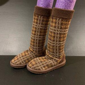 Ugg Brown Plaid Cardy Cardigan Sweater Boots 1 EUC